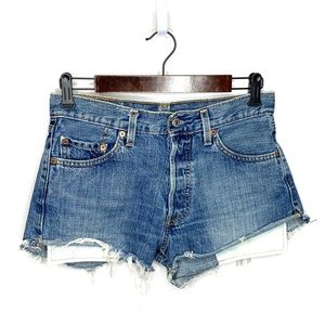 Levi's 501 Frayed Hem Cutoff Button Fly Shorts